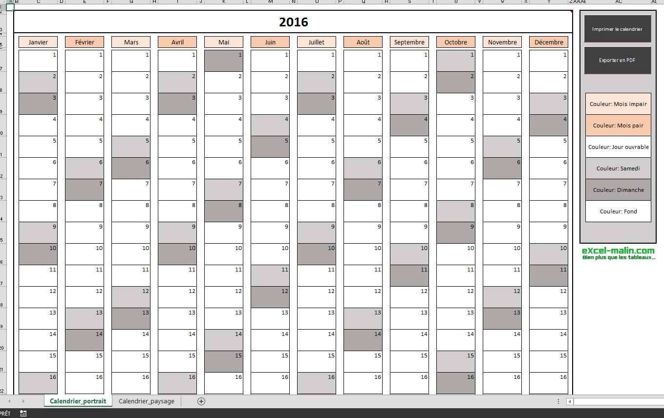 Calendrier excel calendar template 2016 for Calendrier photo mural gratuit