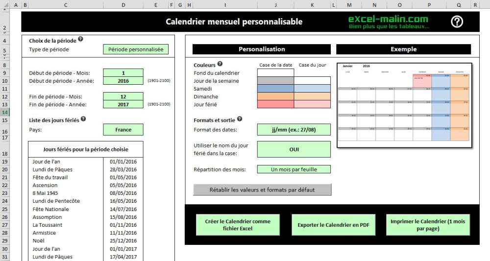 Printable Monthly Calendar Template For Excel  ExcelMalinCom