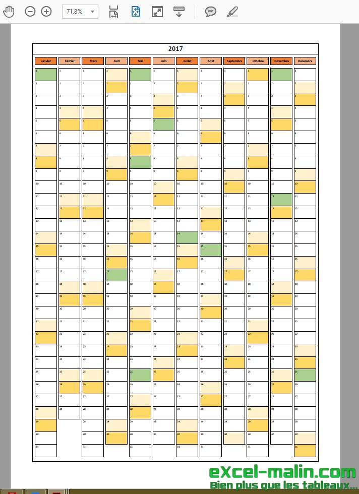 Calendrier 2017 Excel - Calendrier annuel vertical