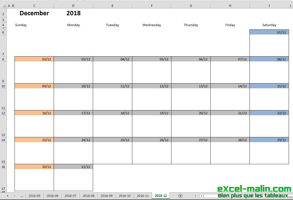 Calendar Templates For Excel : Printable monthly calendar template for excel