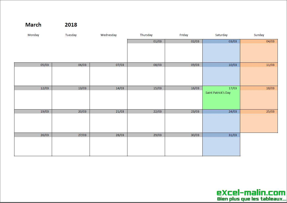 quarterly calendar template excel