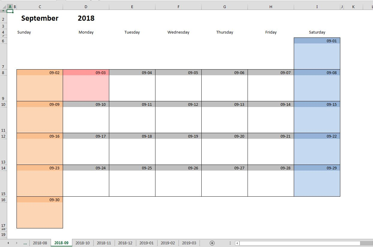 Calendar Monthly Excel : Printable monthly calendar template for excel