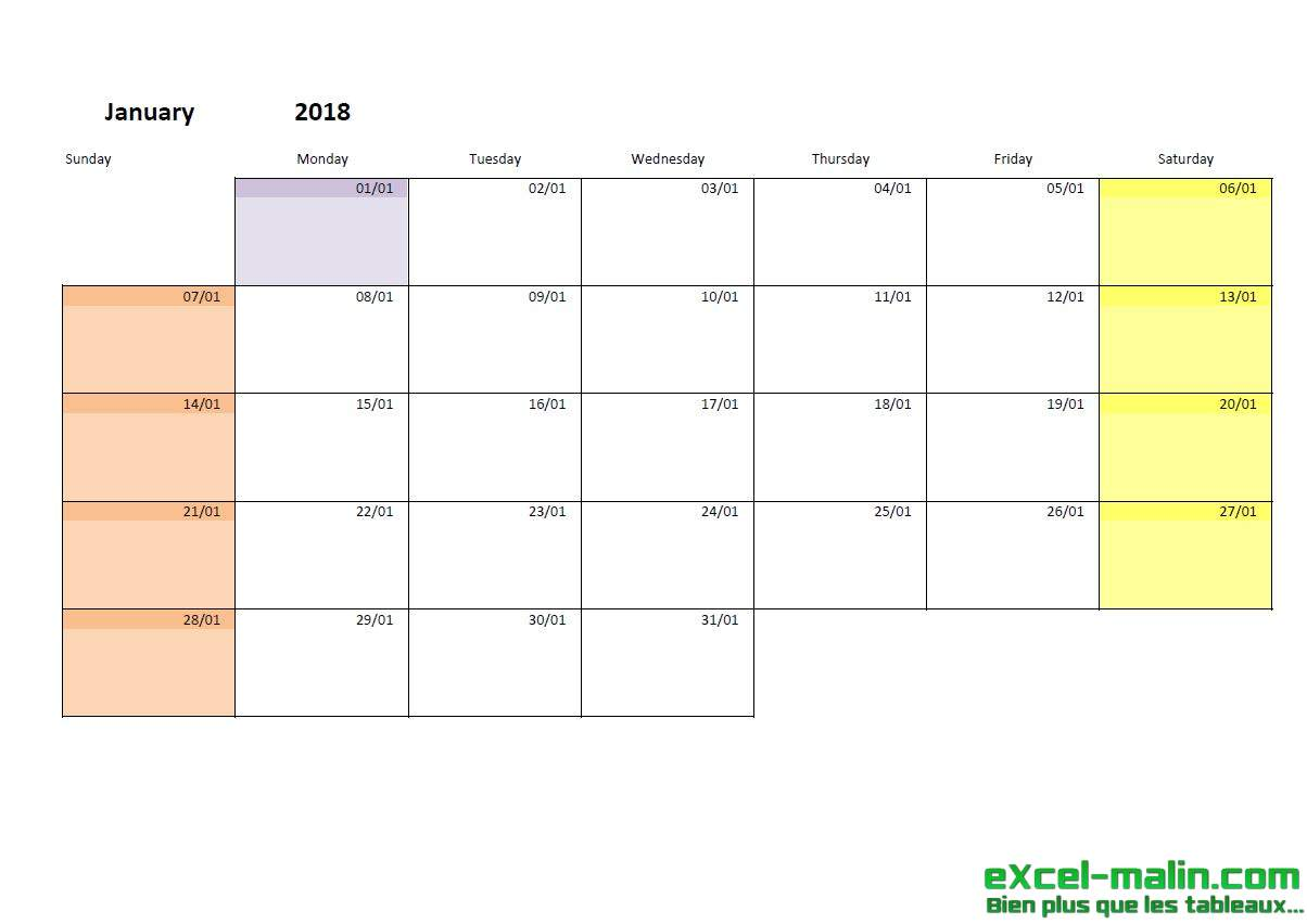 printable monthly calendar template for excel excel