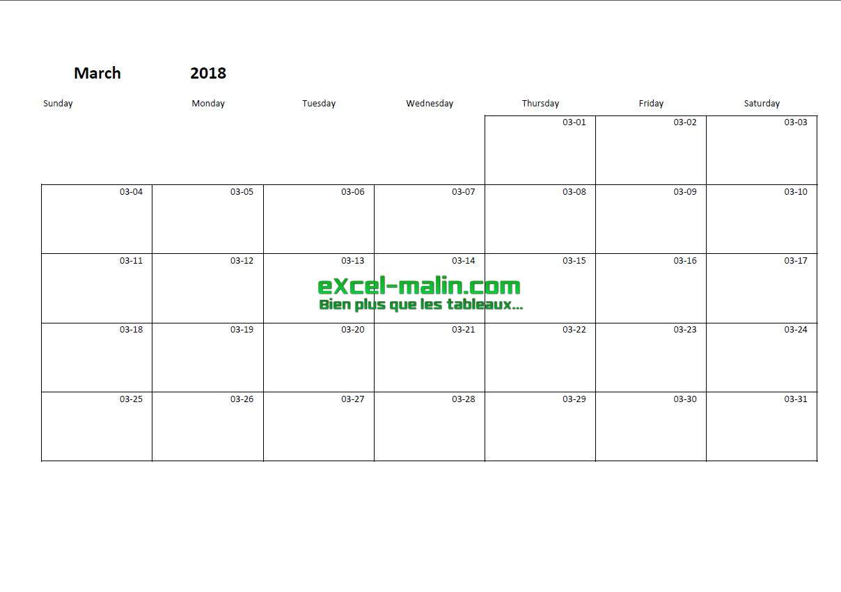 Printable monthly calendar template for Excel – Printable Monthly Calendar