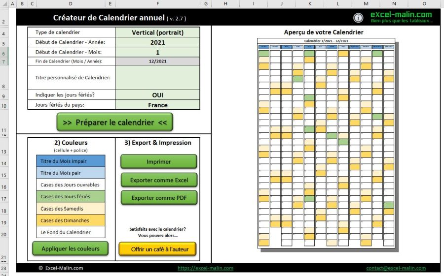 Calendrier 2021 Modifiable Calendrier 2021 Excel et PDF modifiable et gratuit | Excel Malin.com