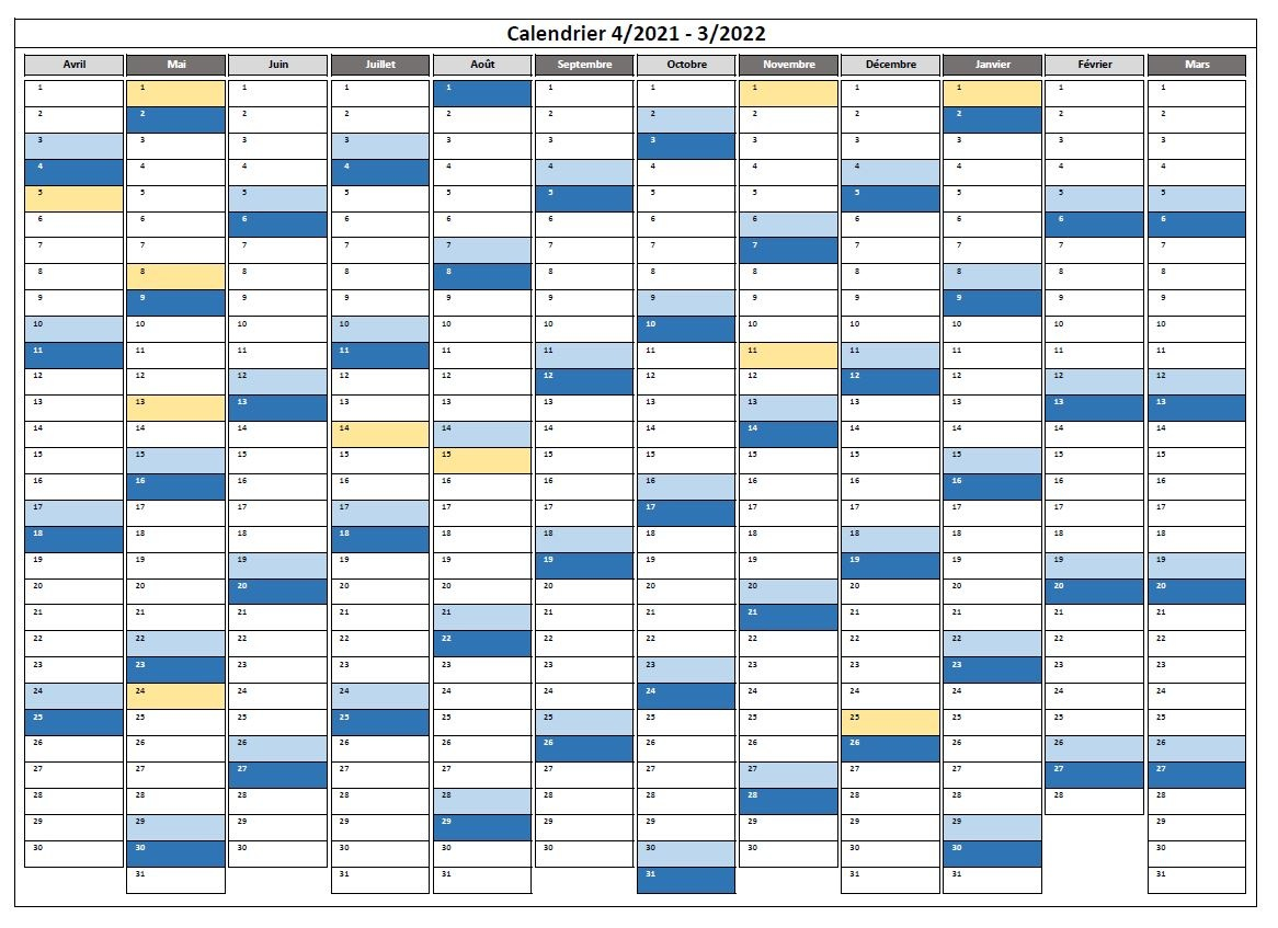 Calendrier Excel 2021 Modifiable Calendrier 2021 Excel et PDF modifiable et gratuit | Excel Malin.com