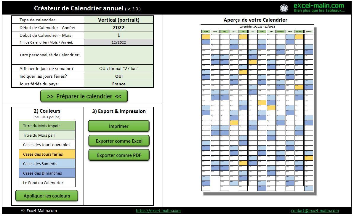 Créer Calendrier 2022 Calendrier 2022 Excel et PDF: pratique, modifiable et gratuit